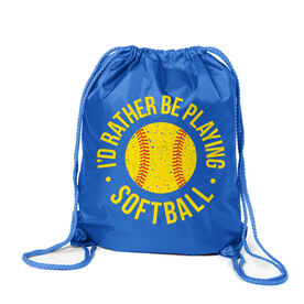 Softball Sport Pack Cinch Sack - I'd Rather Be Playing Softball Distressed