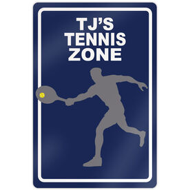 "Tennis Aluminum Room Sign Personalized Tennis Zone Guy (18"" X 12"")"