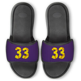 Softball Repwell™ Slide Sandals - Softball Number Stitches