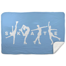 Figure Skating Sherpa Fleece Blanket - Skate With Silhouettes