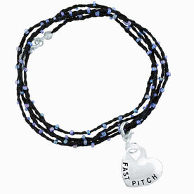 Softball Beaded Wrap Bracelet with Fast Pitch Sport Heart Charm