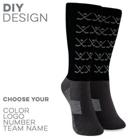 Hockey Printed Mid-Calf Socks - Team Socks Hockey Sticks Pattern