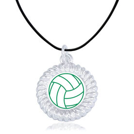 Volleyball Braided Circle Necklace - Ball