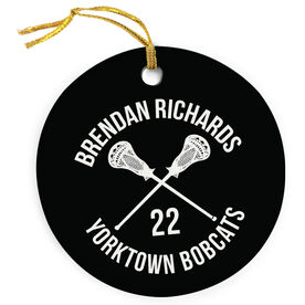 Guys Lacrosse Porcelain Ornament Personalized Player and Team Name with Lacrosse Guy Sticks