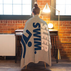 Swimming Premium Blanket - Eat. Sleep. Swim. Vertical