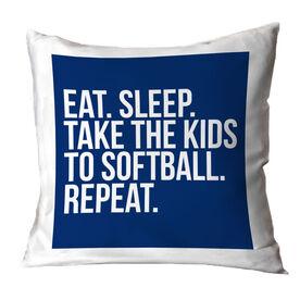 Softball Throw Pillow - Eat Sleep Take The Kids to Softball