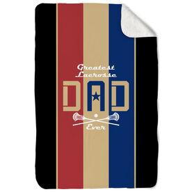 Guys Lacrosse Sherpa Fleece Blanket - Greatest Dad Stripes