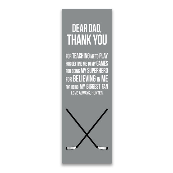 """Hockey 12.5"""" X 4"""" Removable Wall Tile - Dear Dad (Vertical)"""