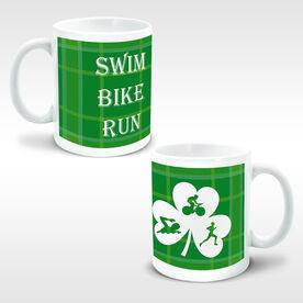 Triathlon Coffee Mug Swim Bike Run Male Shamrock Cutout