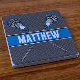 Lacrosse Stone Coaster Personalized Lacrosse Crossed Guy Sticks