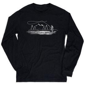 Fly Fishing Tshirt Long Sleeve - Fly Fishing Sketch