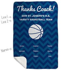 Basketball Sherpa Fleece Blanket - Personalized Thanks Coach Chevron
