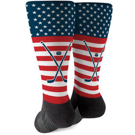 Hockey Printed Mid-Calf Socks - USA Stars and Stripes