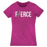 Field Hockey Women's Everyday Tee - Fierce Field Hockey Girl with Silver Glitter