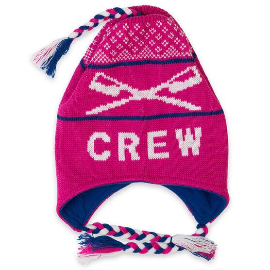 Fleece Lined Knit CREW Hat Pink/Blue