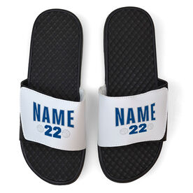 Volleyball White Slide Sandals - Player Name and Number