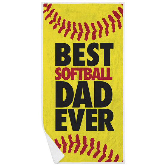 Softball Premium Beach Towel - Best Dad Ever