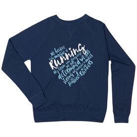Running Raglan Crew Neck Sweatshirt - Live Love Run Heart