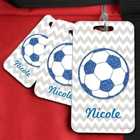 Soccer Bag/Luggage Tag Personalized Glitter Soccer Ball