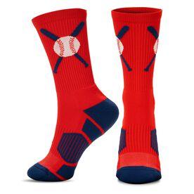 Baseball Woven Mid-Calf Socks - Crossed Bats Red