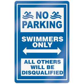 "Swimming 18"" X 12"" Aluminum Room Sign - No Parking Sign With Swimmer"