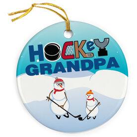Hockey Porcelain Ornament Grandpa Snowmen