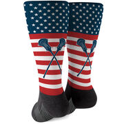 Guys Lacrosse Printed Mid-Calf Socks - USA Stars and Stripes