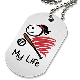 My Life Softball Printed Dog Tag Necklace
