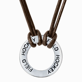 Field Hockey Message Ring Cord Necklace
