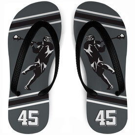 Guys Lacrosse Flip Flops Personalized Silhouette