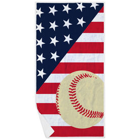Baseball Premium Beach Towel - Baseball USA Flag
