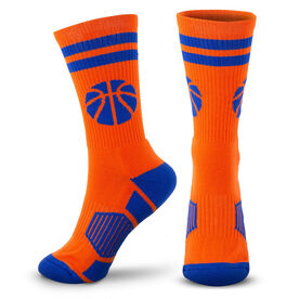 Basketball Woven Mid-Calf Socks - Ball (Orange/Blue)