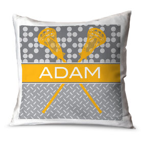 Guys Lacrosse Throw Pillow Personalized 2 Tier Patterns With Crossed Sticks