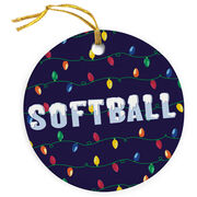 Softball Porcelain Ornament Christmas Lights