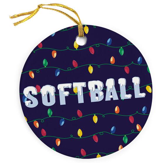 Softball Porcelain Ornament Christmas Lights