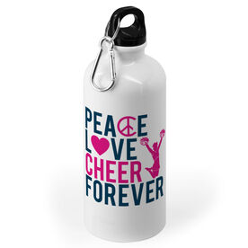 Cheerleading 20 oz. Stainless Steel Water Bottle - Peace Love Cheer Forever