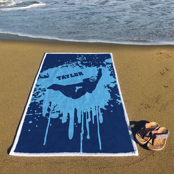 Snowboarding Premium Beach Towel - Silhouette with Splatter Background