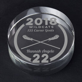 Girls Lacrosse Personalized Engraved Crystal Gift - Custom Team Award
