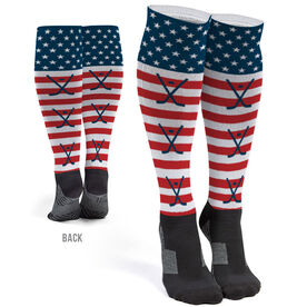 Hockey Printed Knee-High Socks - USA Stars and Stripes