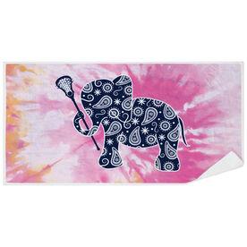 Girls Lacrosse Premium Beach Towel - Lax Elephant Tie-Dye