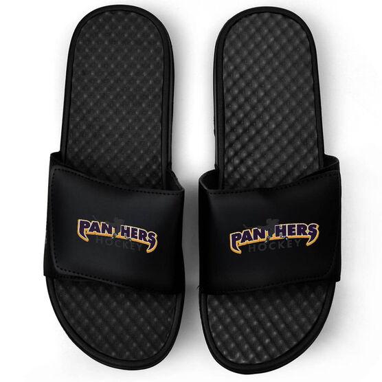 Hockey Black Slide Sandals - Your Logo