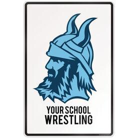"""Wrestling 18"""" X 12"""" Aluminum Room Sign Wrestling Custom Logo With Team Name"""