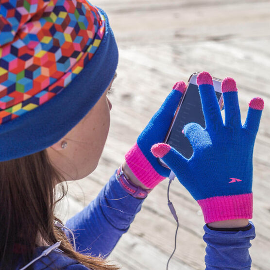 Running Gloves with Touchscreen Fingers - Blue/Pink Hi Bye