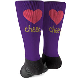 Cheerleading Printed Mid-Calf Socks - Heart With Glitter
