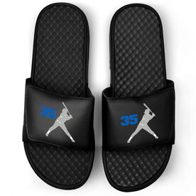 Softball Black Slide Sandals - Batter Silhouette with Number