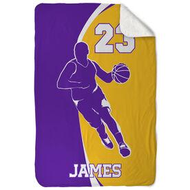 Basketball Sherpa Fleece Blanket - Personalized Guy With Big Number