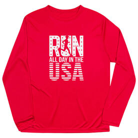 Men's Running Long Sleeve Tech Tee - Run All Day In The USA