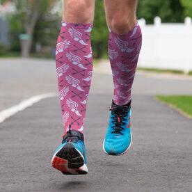 Track & Field Printed Knee-High Socks - Winged Foot Pattern