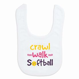 Softball Baby Bib - Crawl Walk Softball