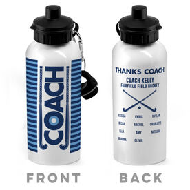 Field Hockey 20 oz. Stainless Steel Water Bottle - Coach With Roster
